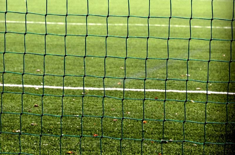 Siatka bramki piłkarskiej. W tle widać zieloną murawę stadionu.
