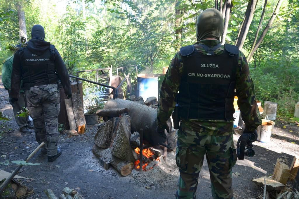 Funkcjonariusze KAS stoją na terenie leśnej bimbrowni. Na miejscu jest kadź zawierająca 300 litrów fermentującego zacieru, chłodnica i kocioł, a także doły z wodą wykorzystywaną w wytwarzaniu bimbru oraz rozlewisko